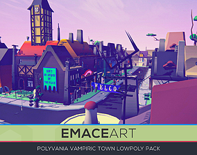 PolyVania Vampiric Town LowPoly Unity 3D asset