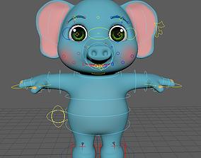 elephant cartoon rigg 3D model