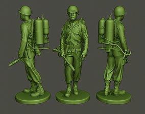 American soldier ww2 walk A6 3D print model