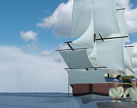 3D model VR / AR ready Endeavour - British Ship