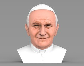 Pope John Paul II bust ready for full color 3D printing