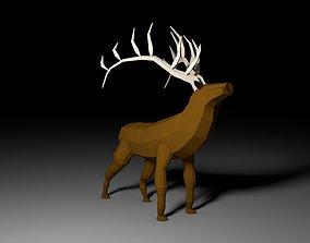 Elk or Deer - low polygon 3D