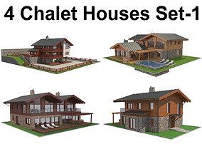 4 Chalet Houses Set 1 3D