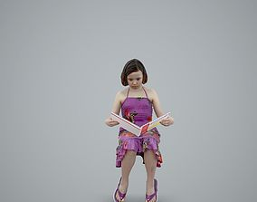 Girl with Pink Dress Reading a Book 3D