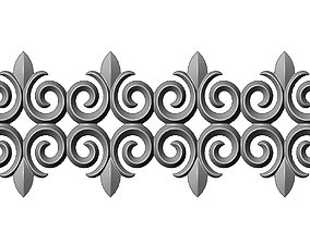 3D printable model Floral scroll pattern strip relief