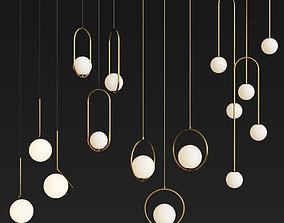 3D Four Hanging Light Set 04