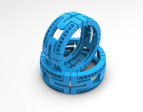 Heavy band rings with many small 3D printable model 4