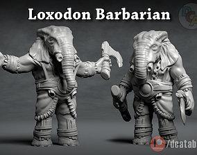 Loxodon Barbarian - 3D Printable Character - 2 Poses