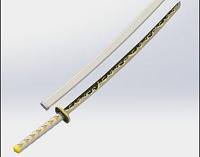 Zenitsu Agatsuma sword Demon Slayer 3D printable model 3