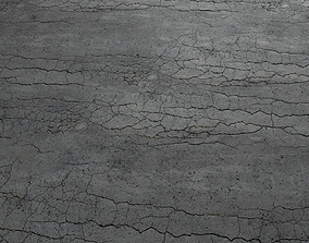 3D model Cracked asphalt scan 45 tile