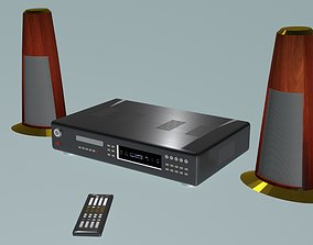 3D model DVD player with columnes and pilot