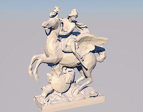 Mercure Monte sur Pegase 3D Statue Sculpture Model Low 1