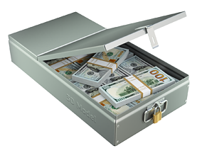 Safety Deposit Boxes with Money Stack 3D model
