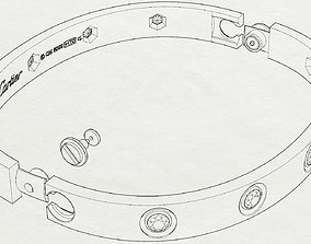 3D print model bracelet love