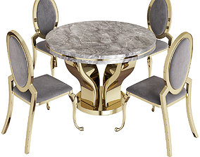 realtime Pamela Creamy White and Gold Round Dining Set 3