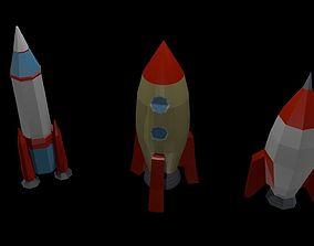 Low poly rockets 3D asset