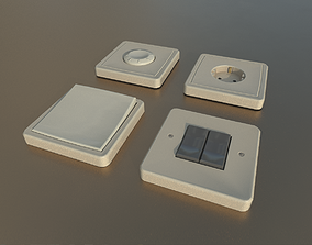3D asset low-poly Socket Switches