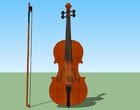 Violin and Bow - Traditional Wood Finish 3D model