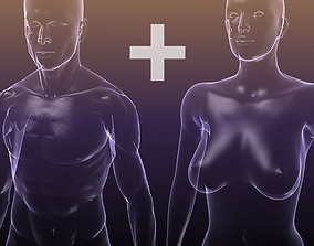 Male And Female Anatomy Transparent Bodies 3D asset