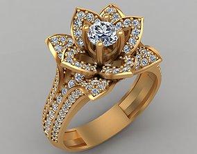Lotus Flower Diamond Gold Engagement 3D printable model