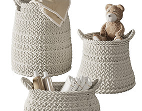 Pottery Barn Ivory Chunky Knit Nursery 3D