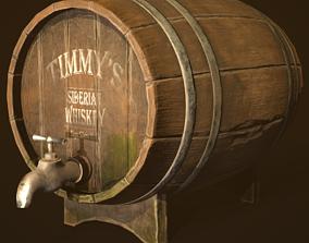 3D model game-ready Whiskey Barrel