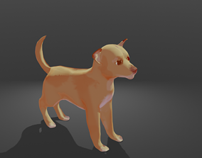 Cartoon Dog rigged 3D model