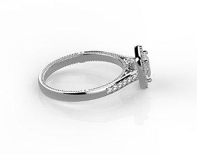 Cushion cut engagement ring 3D printable model