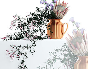 3D Flowers in copper pitcher