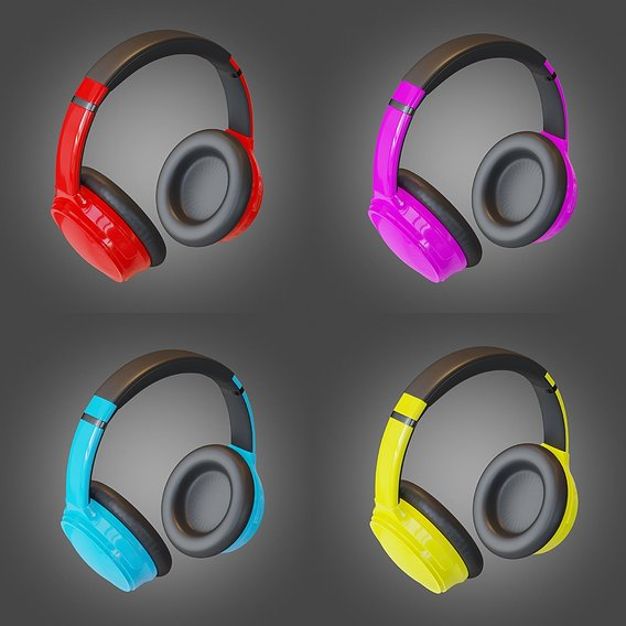 Headphone Lowpoly Pbr Subdivision Ready PACK 3D Model Collection