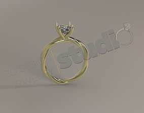 Luxury engagement solitaire rope ring 3d model