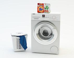 3D model Washing machine Laundry basket Washing powder