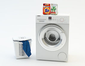 3D model Washing machine Laundry basket Washing powder