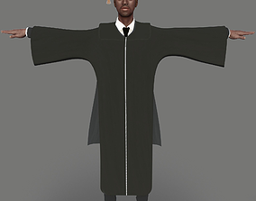 Academic Gown Male Graduate 3D model B rigged low-poly