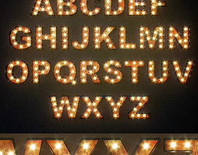 Lighted Metal sign Alphabet 3D model