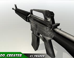 realtime M416 assault rifle Low-poly 3D model