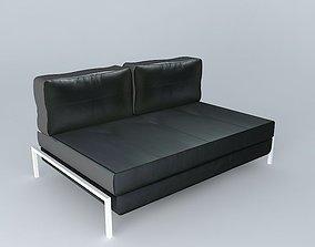 Sofa black Detroit houses the world 3D model