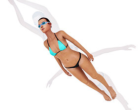 3D Swimming girl animation
