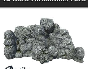 12 Rock Formations Pack 3D model