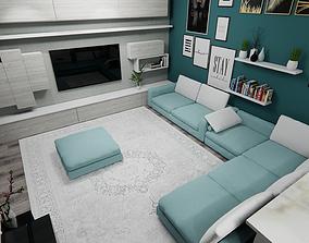 3D interior door kitchen house