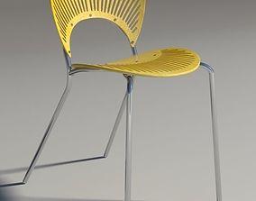 Chair Trinitad Style Yellow Wood 3D model