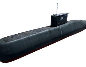 3D asset Preveze Class Submarine 209 Type 1400