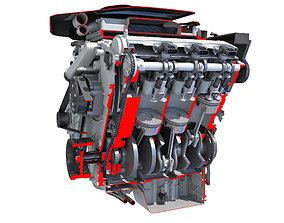 3D V6 Engine Cutaway
