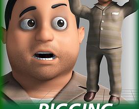 rigged Cartoon bed man Character 3D model
