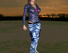 game-ready Camouflage Girl - FREE 3D Model