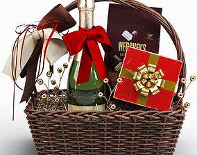 Champagne Sweetness Gift Basket 3D model