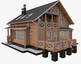 3D European Timber Wood House
