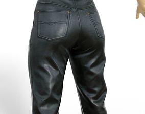 3D asset Trousers Black Leather Women Clothing