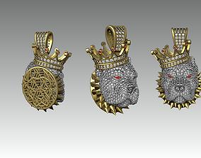 King Pitbull pendant full stone 3D print model