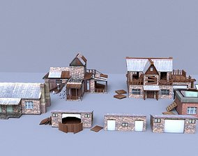 Low Poly Building Collection 3D asset